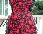 Red and Black Blood Splatter butcher apron with black lace