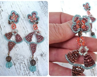 ART DECO Handmade in France Pendant turquoise and metallised coral  dangles earrings