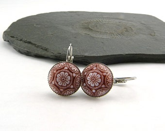 Dark Red & White Glass Mosaic Cabochon Earrings in silver settings. Vintage Cabochons 14 mm, hand painted. Vintage glass.