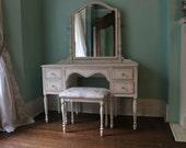 Antique Vanity desk shabby chic pink white distressed bench seat vintage custom order Beach Cottage