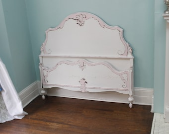 custom order antique full bed frame shabby chic distressed pink white vintage double cottage girls bedroom