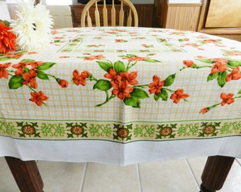 NOS Tablecloth Orange Floral Tablecloth, Orange Tablecloth, Green Tablecloth, Never Used