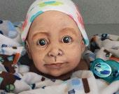 Doll head bank baby shower gift with hat cute, creepy and Scarry Doll face