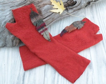 Burnt Orange Fingerless Gloves, Felted Wool, Upcycled Arm Warmers, Eco Friendly, Striped Feather