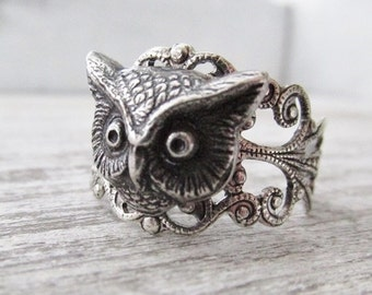 Owl Ring, Silver Owl Head Ring, Hoot Owl, Owl Jewelry, Bird Jewelry, Woodland Jewelry, Gifts For Her