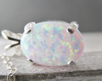 White Opal Necklace, Opal Pendant Necklace, October Birthstone Necklace, Sterling Silver Opal Necklace, Opal Jewelry, Lab Created Opals