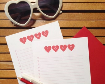 To Do List - Red Hearts - Printable