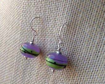 Purple and green glass lampwork earrings