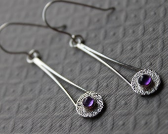 Sterling silver earrings -  Amethyst drop earrings - Pendulum Chopsticks
