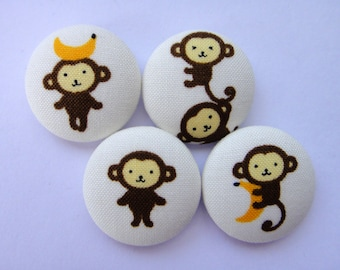 Cute Monkeys Japanese Fabric Covered Buttons For Sewing - Set of 4 - 27mm