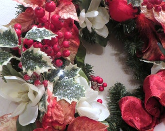 SALE Victorian Christmas Wreath Home Decor in Red and White Poinsettias with Detailed White Pearl Beaded Fringe and Fancy Trim Bow ready to
