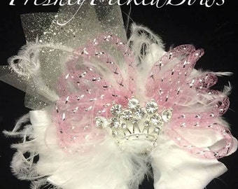 White Double Ruffle BOW with curly ostrich, pink Crin, glitter tulle and princess crown