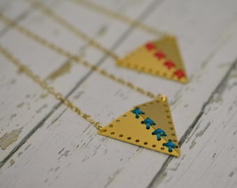 Geometric Necklace/ Cross stitch Necklace / Golden Plated Pendant for Her/ Gift for her