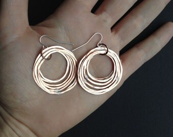 Copper Hoop earrings,  Shiny finish - Layered rings - light weight - handmade in Austin, Tx