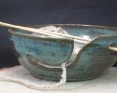 Handmade Ceramic Knitting, Crocheting, Yarn Bowl - Needle Holders - Celadon Green