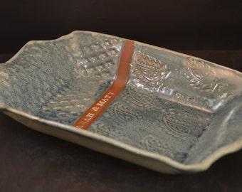 Personalized Handmade Ceramic Wedding Platter - Custom Made - Rectangular - Stamped