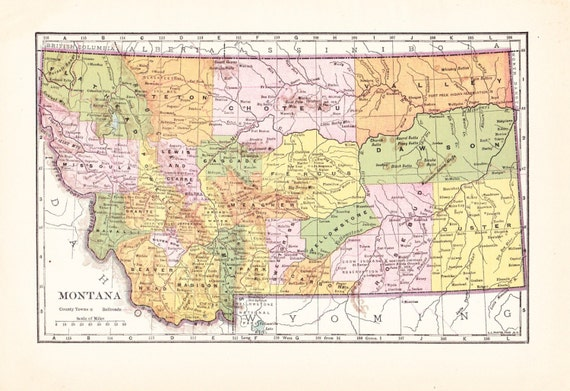 1903 State Map Montana - Vintage Antique Map Great for Framing 100 Years Old