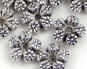 Silver Pewter Flower Spacer Rondelle Beads Lead-Free 7mm (30 pc) (p151)