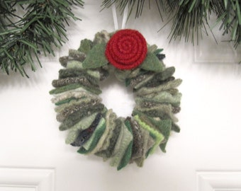 Christmas Wreath Ornament in Shades of Green Handmade from Felted Wool Sweaters (no.207)