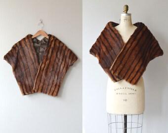 Muskrat stole   1950s fur cape • vintage 50s muskrat fur stole