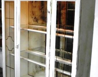 Glass Shelved Bookcase/Display Cabinet Vintage Refinished