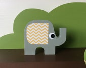Elephant Wooden Art, You choose Color, Elephant Decor, Elephant Nursery, Elephant Kids Decor, eco friendly