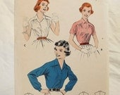 Vintage sewing pattern 1950s tailored blouse 3 sleeve types Buttrick 7329 small