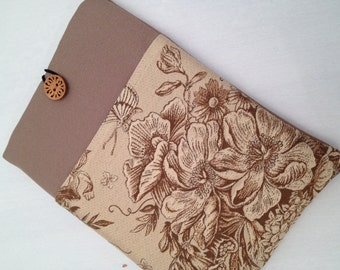 iPad air padded sleeve /  iPad air 2 cover /  made in Maine / tan and brown floral