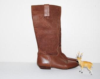 Vintage Boots Aztec / Tribal Cherokee Suede