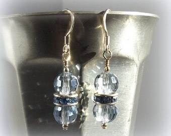 Light Blue faceted Crystal Earrings