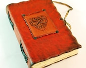 Supernatural RED Leather Journal, Diary, Book with Heart on cover
