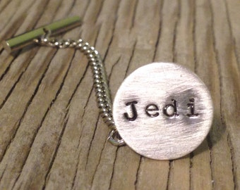 Hand stamped personalized tie tack with chain in sterling silver-  Men's gift accessory