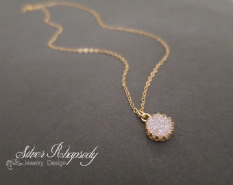 Snow White Druzy Necklace in Victorian Style Bezel in Gold Fill - Drusy Pendant - Minimalist Dainty Necklace