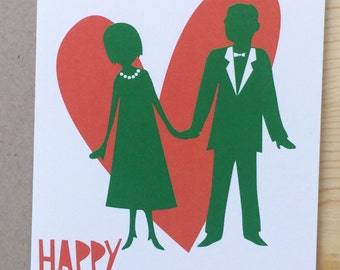 Happy Anniversary Paper cut-out illustration card