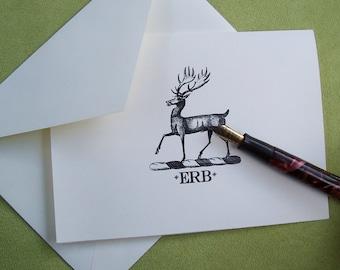 Deer, Stag ,Elk Personalized Monogrammed Note Cards Stationery Old World Heraldic Woodland Forest Vintage Inspired Black Ivory Set 10