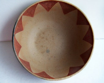 Vintage Unsigned American Indian made small pottery Bowl Unknown Maker Red Triangle Pattern inside the bowl Buff Color Natural Clay