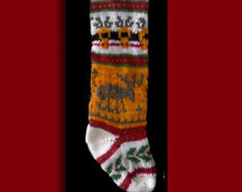 Hand knit Christmas stocking,  Personalized, made of pure wool yarn,  fully lined -- moose on a gold field