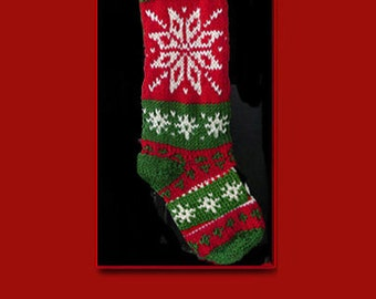 Hand knit Christmas stocking,  Personalized, made of pure wool yarn,  fully lined -- Large snowflake and snowflake all over