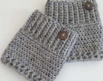 Crochet Boot Cuffs Button Accent Crochet Boot Topper Leg Warmer in Grey Marble - Ready to Ship  - Direct Checkout