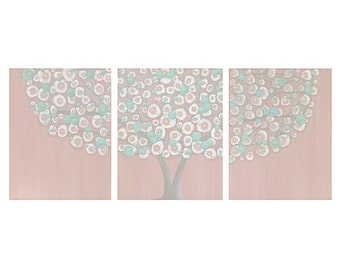 Shabby Chic Wall Decor for Baby Girl Nursery - Canvas Tree Art - Pink and Teal Textured Painting Triptych - Large 50x20