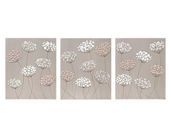 Large Art Canvas Flower Painting Triptych - Warm Gray and Pink - Extra Large 62X24