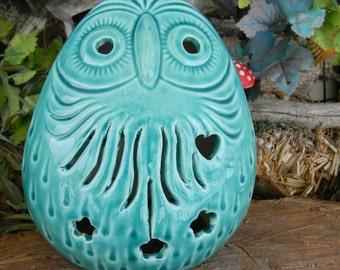OWL Ceramic Statue Vintage  Glazed INCA Owl with swirls