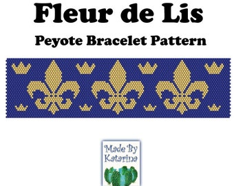 Peyote Pattern - Fleur de Lis - INSTANT DOWNLOAD PDF - Peyote Stitch Bracelet Pattern