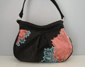 Small Shoulder Bag - Handmade Handbag in luxe black fabric with applique embellishment
