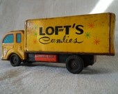 TIN Litho DELIVERY TRUCK Loft's Candies Savings Bank Original Paint Japan Cottage Home Style Patina Country Collectible