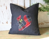 RESERVED for Maggie only - ChristmasTartan Squirrel Pillow Cover - 12 inch, Denim, Recycled