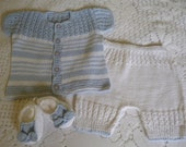 Knitted Newborn  Cotton  Set.  Coming Home  Outfit. Baby Boy   Ensemble. Take Home   Suit.  GIFT 1 Pair of Sandals