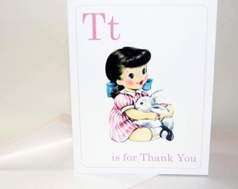 DIGITAL | Girl T is for Thank you Note Card Vintage Style