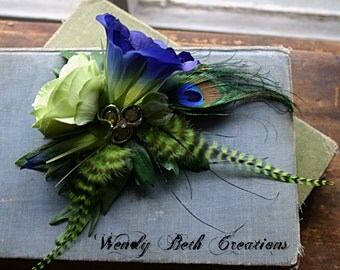 Limey Blue Bell Hair Clip Fascinator - Tribal, Belly Dance, Wedding, Prom, Steam Punk, Pin Up, Flower, Feather