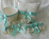 Wedding Ring Pillow With Garter Set  And Flower Girl basket Aqua Blue  And Ivory Chantilly Lace